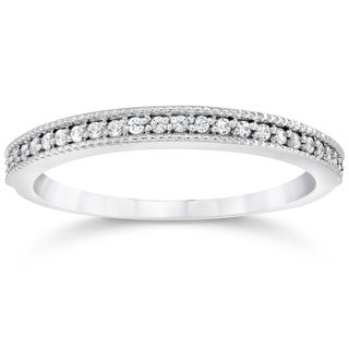 14k White Gold 1/8ct TDW Vintage Diamond Accent Anniversary Wedding Ring