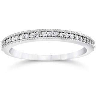 14k White Gold 1/8ct TDW Vintage Diamond Accent Anniversary Wedding Ring