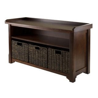 Granville Antique Walnut Finish Wood Storage Bench with Three Foldable Corn Husk Baskets