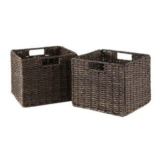 Granville Chocolate Foldable Small Corn Husk Baskets (Set of 2)