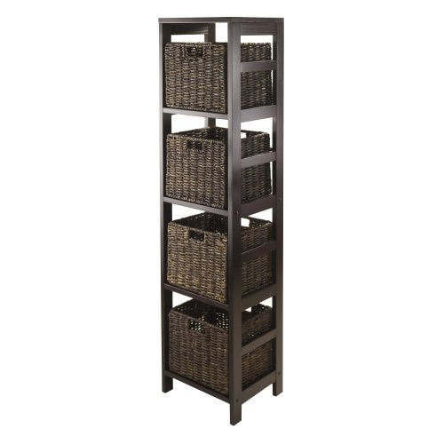 Granville Espresso Storage Tower Shelf with Four Foldable...