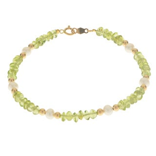 Pearls For You 14k White FWP, Peridot and Gold Bead Bracelet