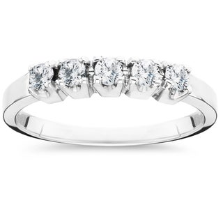 10k White Gold 1/2ct TDW 5-stone Diamond Wedding Ring (More options available)