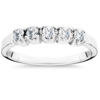 14k White Gold 1/2ct TDW 5-Stone Diamond Wedding Ring (I-J,I2-I3)