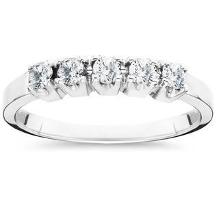 10k white gold 12ct tdw 5 stone diamond wedding ring - White Gold Diamond Wedding Rings