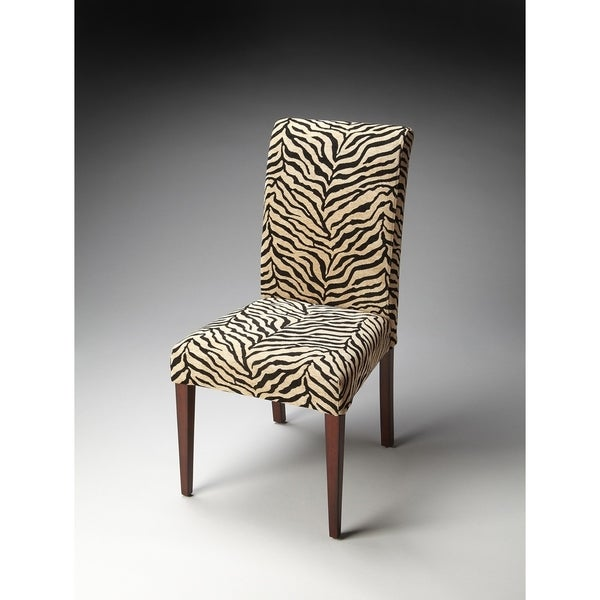 Shop Butler Transitional Crafted Parsons Accent Chair In Zebra Print Fabric    Multicolor   Free Shipping Today   Overstock   12072570