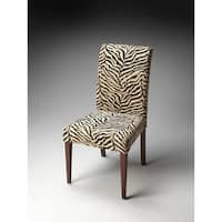 Handmade Butler Black and Off-white Zebra Print Fabric Parsons Chair (China)