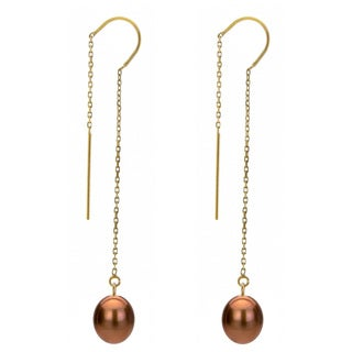 DaVonna 14k Yellow Gold 7-8mm Brown Cultured Freshwater Pearls Cable Chain Hoop Dangle Earrings