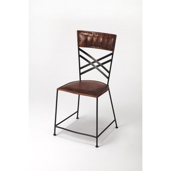 Handmade Butler Hackney Brown Leather Side Chair (India)