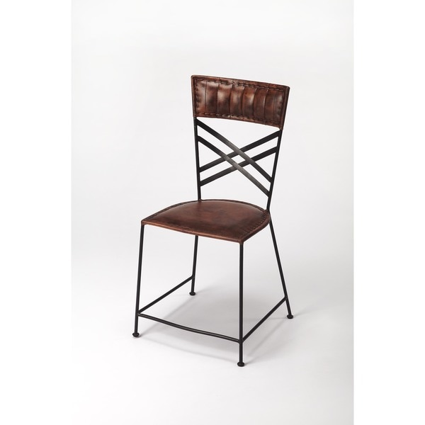 Handmade Butler Hackney Brown Leather Side Chair India