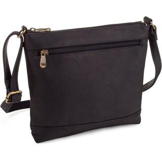 LeDonne Leather Savanna Crossbody Handbag (Option: Black)