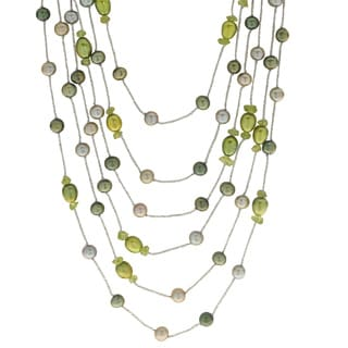 Pearls For You Sterling Silver Dyed Multi-green 6-7-millimeter FWP and Peridot Necklace
