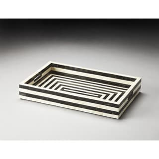 Butler Zanzibar 3229016 Black/Bone Wood 20-inch x 13-inch x 3-inch Inlay Serving Tray