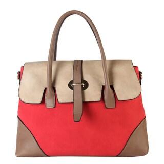 Diophy Women's Three-tone Faux-leather Handbag
