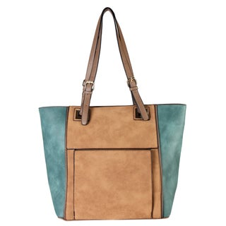 Diophy CL-3504 Two-tone Faux Leather 17-inch x 5.5-inch x 12-inch Front Pocket Large Tote Handbag
