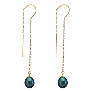 DaVonna 14k Yellow Gold 7-8mm Black Cultured Freshwater Pearls Cable Chain Hoop Dangle Earrings