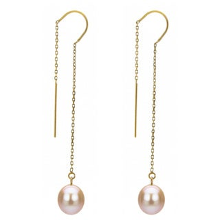 DaVonna 14k Yellow Gold 7-8mm Pink Cultured Freshwater Pearls Cable Chain Hoop Dangle Earrings