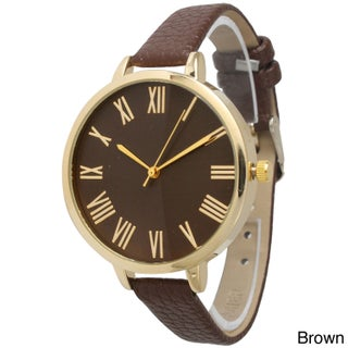 Olivia Pratt Women's Vintage-inspired Petite Leather Band Watch