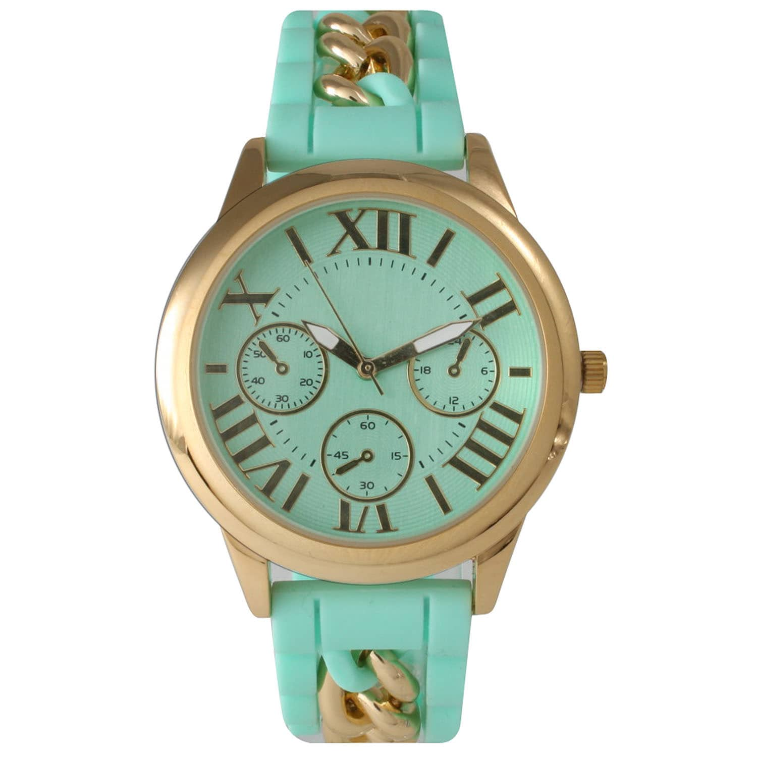 Olivia Pratt Women's Chain Link Silicone Watch (Green), S...
