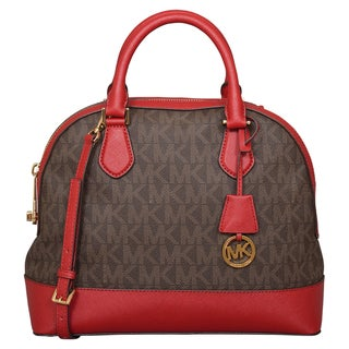 Michael Kors Large Smythe Brown/ Cherry Dome Satchel Handbag