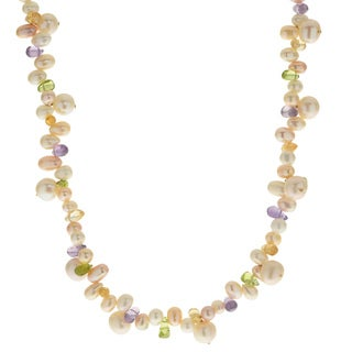 Pearls For You 14k White FWP, Amethyst, Citrine and Peridot Necklace