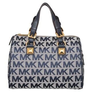 Michael Kors Medium Grayson Ivory/ Denim/ Navy Satchel Handbag
