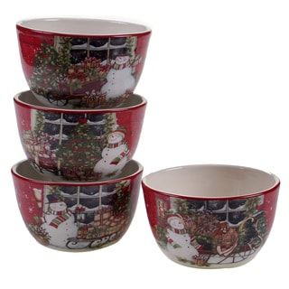 Certified International Snowman's Sleigh Ice Cream Bowls (Set of 4)