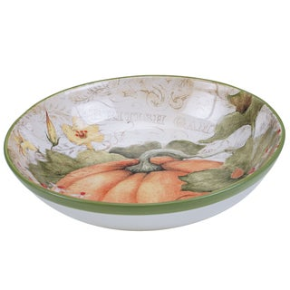 Certified International Botanical Harvest Susan Winget 19331 Floral Ceramic 13.25-inch x 3-inch Serving/Pasta Bowl