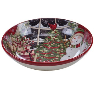 Certified International Snowman's Sleigh Serving/Pasta Bowl