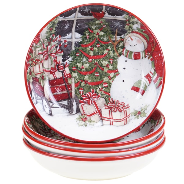 Certified International Snowman\'s Sleigh Soup/Pasta Bowl (Pack of 4 ...