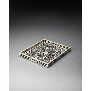 Butler Off-white and Brown Bone Inlay Serving Tray