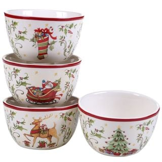 Certified International Christmas-themed Multicolored Ceramic Ice Cream Bowls (Pack of 4)