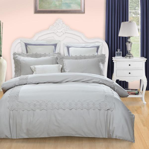 Miranda Haus Charlotte 300 Thread Count Embroidered Cotton Duvet Cover Set
