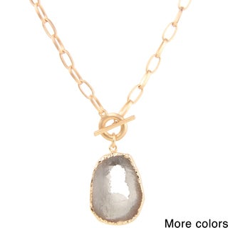 Saachi Faux Stone Pendant Chain Necklace (China)