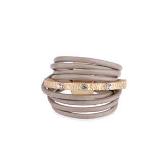 Saachi Embellished Bar Leather Ring (China)