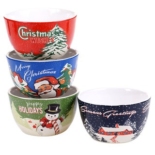 Certified International Ceramic Retro Christmas Ice Cream Bowl with Assorted Designs (Pack of 4)