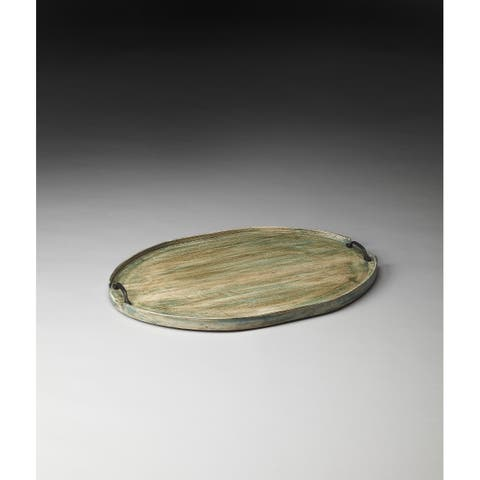 Handmade Butler Dubois Aged-Green Solid Mango Wood Serving Tray (India)