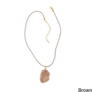 Saachi Wire Druzy Pendant Leather Necklace (China)