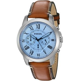 Fossil Men's FS5184 'Grant' Chronograph Blue Leather Watch