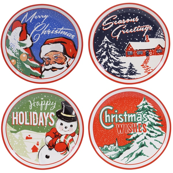Certified International Retro Christmas 11-inch Dinner Plates With Assorted Designs (Pack of Four)
