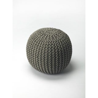 Handmade Butler Pincushion Green Woven Pouffe (India)
