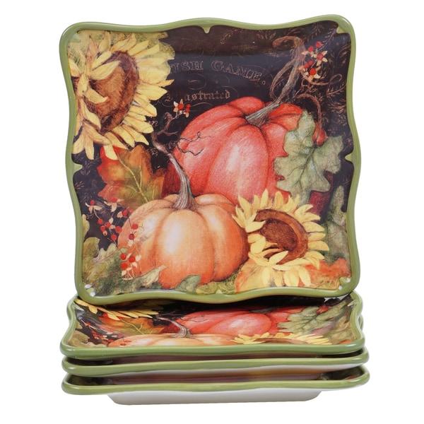 Certified International Botanical Harvest 8.5-inch Dessert Plate (Pack of 4)