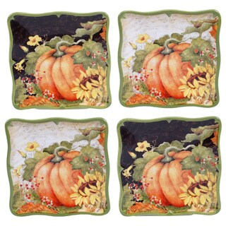 Certified International Botanical Harvest 6-inch Canape Plate With Assorted Designs (Pack of Four)