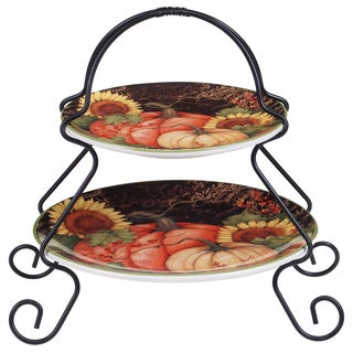 Certified International Susan Winget 19335 Floral Ceramic 7-inch x 9-inch Botanical Harvest 2-tier Server