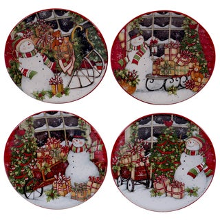 Certified International Snowman's Sleigh 6-inch Canape Plate Assorted Designs (Set of 4)