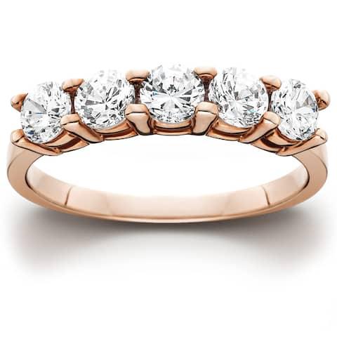 14k Rose Gold 1ct TDW Five Stone Diamond Wedding Ring