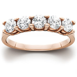 14k Rose Gold 1ct TDW Five Stone Diamond Wedding Ring