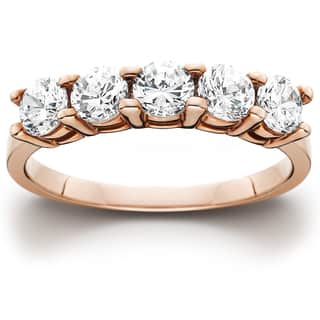 14k Rose Gold 1ct TDW Five Stone Diamond Wedding Ring https://ak1.ostkcdn.com/images/products/12072995/P18940212.jpg?impolicy=medium