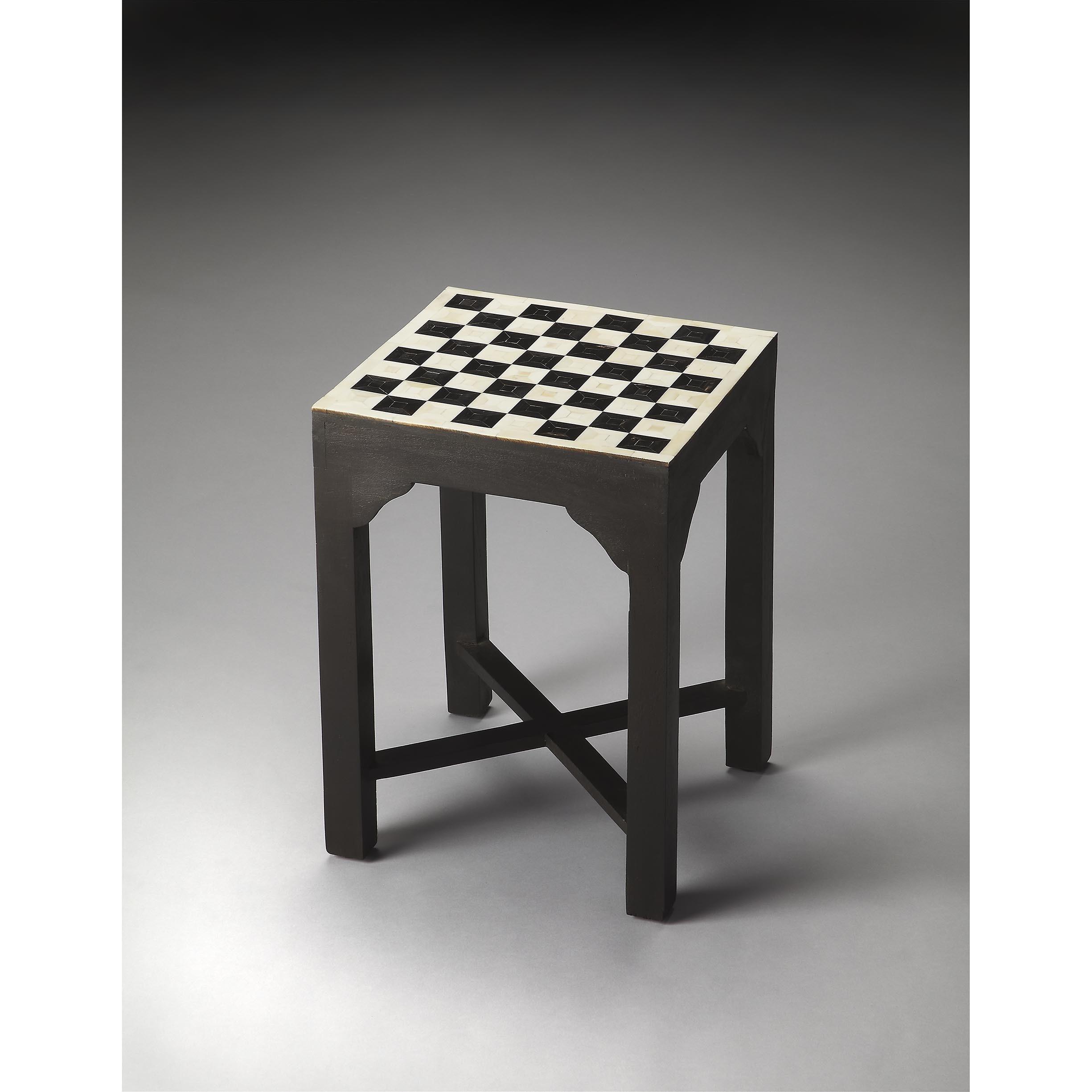Butler Bishop Bone (Ivory) Inlay Bunching Chess Table (Mu...