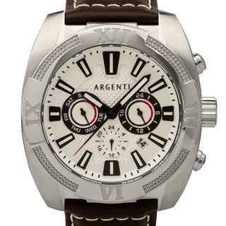 Argenti Tritus Men's multifunction watch with GMT, day, date and high grade leather strap